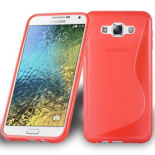 Preisvergleich Produktbild Cadorabo DE-105348 Samsung Galaxy E7 2015 Handyhülle aus flexiblem TPU Silikon im S-Line Design Rot