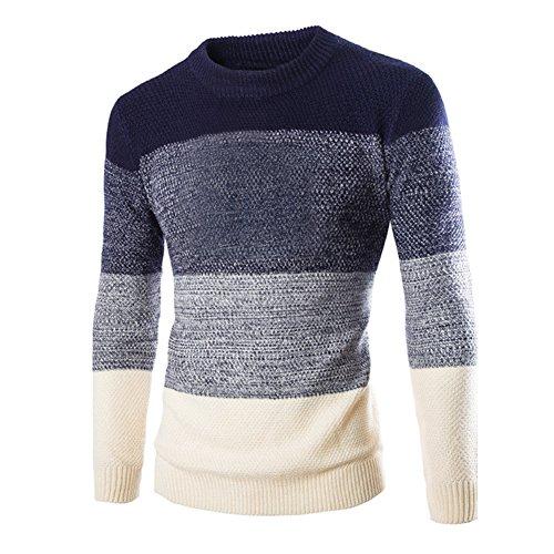 Zicac, maglione invernale da uomo a girocollo con maniche lunghe, lavorato a maglia, fantasia elegante a righe, vestibilità aderente navy blue x-large