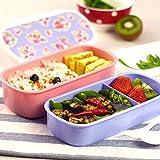 Essen Lagerbehälter für Kinder und Erwachsene,frische Blumen muster Lunch Box,double layer Mikrowelle Lunchbox Brotdose,Produkt Größe: 20*10,8*10 cm (LWH)