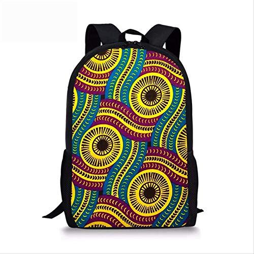 3D Rucksack Für Frauen, Lässig Gedruckt E-Frauen Vintage Afrikanischen Druck Schultasche, Für Teenager Mädchen Tribal Ethnische Weibliche Rucksack gelb