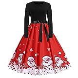 Weihnachten Partykleider Damen Elegant Riou Weihnachts Kleid Langarm Knielang Retro A Linie Abendkleid Cocktailkleid Schön Mini Swing-Kleid (XL, Rot)