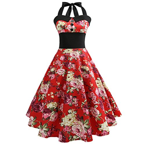 Damen Kleider, GJKK Damen Elegant Neckholder Rockabilly 50er Vintage Retro Kleid Petticoat...
