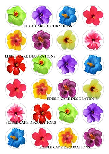 30 X Hibiscus Flowers Stand Up Edible Paper Cupcake Toppers Cake