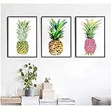 Juabc 3 Pièces Art Impressions Sur Toile De Bande Dessinée Jaune Rouge Or Ananas Toile Peinture Mur Affiche Pour Canapé Fond Décor À La Maison 50X70Cmx3 Sans Cadre
