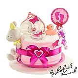 MomsStory - mini Windeltorte Mädchen | Babygeschenk | Geschenk zur Geburt, Taufe, Babyshower | 1 Stöckig (Rosa/Pink)