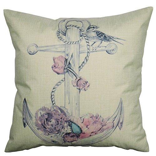 Luxbon Ozean Meer Rose und Vogel Anker Anchor Leinen Kissenbezug Zierkissen Haus Zimmer Auto Deko 45 x 45 cm