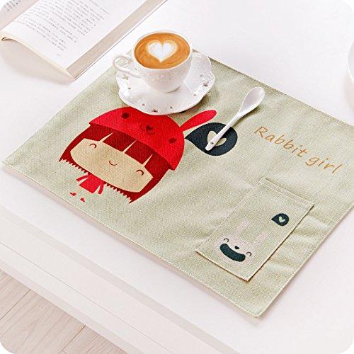 Tovagliette all' americana in cotone con tasca lavabili tovagliette per bambini 43,2x 33cm