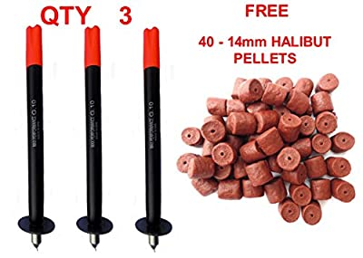 QTY OF 3 10g PELLET WAGGLER SPLASHER CARP FLOATS PLUS *FREE* 40 X 14mm DRILLED RED HALIBUT PELLETS from VARIOUS