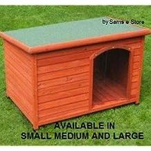 Exteriores casa Caseta de perro de madera techo plano cachorro Refugio Acceso Fácil de Limpiar resistente
