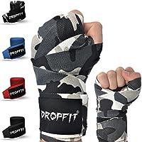 DROPFIT® vendas pulgar cortina (4m) con bolsa de plástico–Media de elásticos vendas de boxeo (con velcro extra ancho–Vendas para deportes de lucha, camuflaje