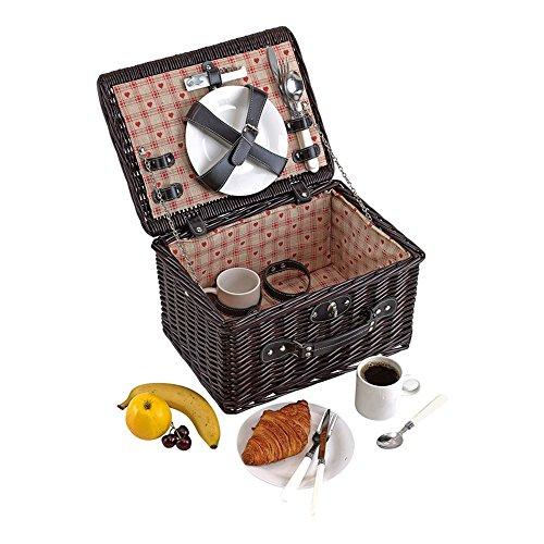 Picknickkorb 2 Personen Campingkorb Edelstahl Besteck Innenfutter aus 100% Leinen Picknickbedarf