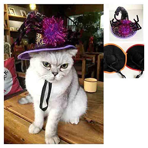 LMNZM 3 Halloween-Spinnen-Hüte, niedliche Katzen-Requisiten-Haustier-Feiertags-Geschenke Cosplay Partei-Kostüme Halloween-dekorative Hüte, beste Geschenke für Katzen,Orange