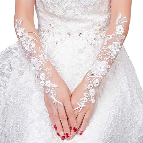 Elegante Aushöhlen-Hochzeits-Handschuhe Weiße Blumenspitze-Handschuhe Rhinestone-langer Handschuh für Braut -