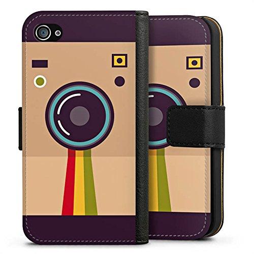 Apple iPhone X Silikon Hülle Case Schutzhülle Kamera Foto Fotograf Sideflip Tasche schwarz