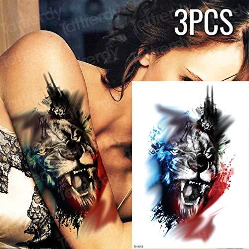 re Tattoo Aufkleber Tiger Lion Tattoo hülse arm Tattoo sexy rücken Oberschenkel Tattoos Herren gefälschte Tatoo Aufkleber für Frauen ()
