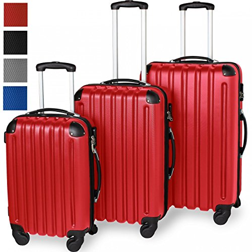 3-teiliges ABS Reisekofferset, Hartschalenkoffer, Ultraleicht, 360° Rollsystem, 4 Rollen, Aluminium-Teleskopstange, Rot