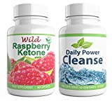 Wild Raspberry Ketone + Daily Power Cleanse Duo 120 Capsules High Strength Detox for Weight Loss Combo High Quality Supplement (60x Raspberry Ketone + 60x Colon Cleanse Detox)