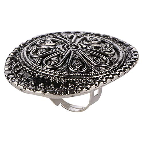 Archi Collection Fashion Jewellery Stylish Antique Boho Vintage Oxidised Silver Statement Adjustable Ring for Girls Women