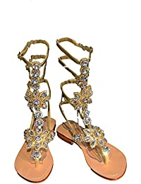 99f748dfe Pasha HISINGEN Gladiator Clear Gold Crystal Jeweled Leather Sandals