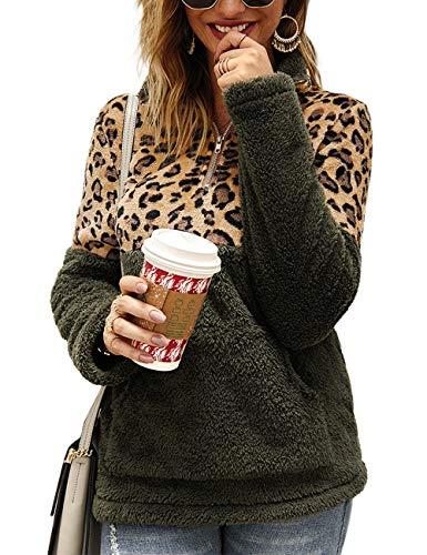 Blivener Damen Casual Fuzzy Fleece Sweatshirt Leopard Print Pullover Mantel Outwear mit Reißverschluss Gr. XL, grün -