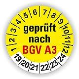 5-1.000 Stück Prüfplaketten Prüfetiketten Wartungsetiketten BGV A3 Prüfung Ø 20mm (Gelb 250 Stück)