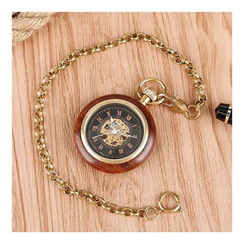 Taschenuhr Jue Antike Hochwertige Römische Wörtliche Mahagoni Retro Wood Grain Industrial Classic Straight Manual Mechanical Pocket Watch