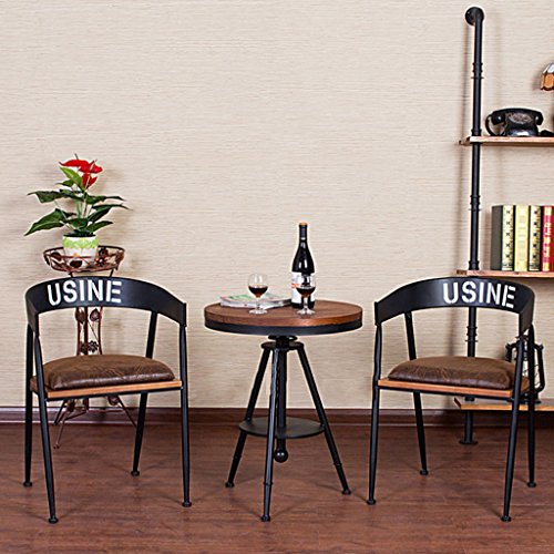 Iron Art Terrace Loisirs Table et chaise Table ronde en bois massif American Cafe Outdoor Patio Balcon Table et chaise Combinaison ( Couleur : Set meal (table+2 chair) )
