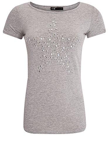 "oodji Ultra Femme T-shirt avec Imprimé ""Étoile"" en Strass, Gris, FR 38 / S"