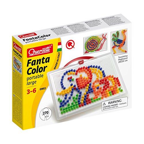 Quercetti 0952 - Mosaik-Steckspiel Fanta Color Large, 270 Stecker 10mm - Eckigen 4 Stecker 3