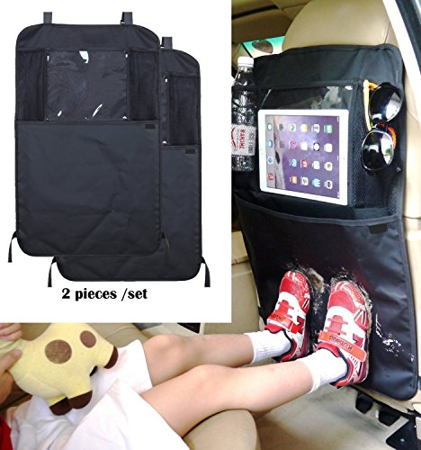 Back Seat Car Travel Organiser With Tablet Ipad Holder and Kick Mat (Set of 2)