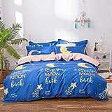 FGKLU Bettwäsche Set aus 100% Baumwolle, Ultraweiche Bettwäsche im Modernen Stil, 4 Teilig, mit Reißverschluss und Eckknöpfen (1 Bettbezüge, 1 Spannbettlaken, 2 Kissenbezug),001,Queen