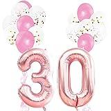 KUNGYO Rosa Oro Decorazioni per Feste di Compleanno per Adulti e Bambini, Rose Gold Numero Gigante 30 e Stelle Palloncini Foil, Balloon di Confetti in Lattice, Nastri-Rosa Forniture per Feste