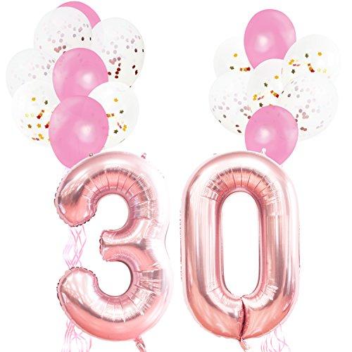 KUNGYO Rose Gold Geburtstagsparty Dekorationen Kit für Erwachsene Kinder-FolienBallon Zahl 30 in Roségold-XXL Riesenzahl 100cm, Sterne Folienballons, Rosa Latex Konfetti Ballons und Bänder Party Supplies