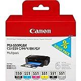 Canon Ink Cartridge for Pgi550Pgbk/Cli551 - Multicolour (Pack of 6)