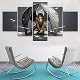 Mddrr Modernes Zuhause Wandkunst Dekor Leinwandbild Druck 5 Stücke Angriff Auf Titan Levi Ackerman Malerei Für Wohnzimmer Anime Poster