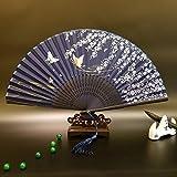 Zwzx Chinesischer Art-Japanischer Fan-Fan-Weiblicher Fan-Fan-Silk Fan-Fan-Fan-Fan, Blauer Bambus und Blauer Weide-Schmetterling