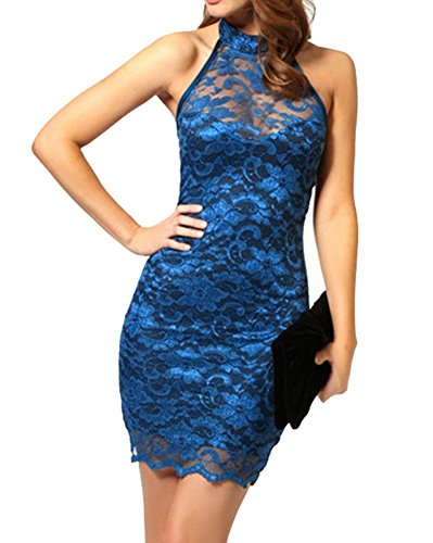 SaiDeng Donna Senza Maniche Backless Vestito Pizzo Cucitura Prospettiva Clubwear Mini Vestito Blu L