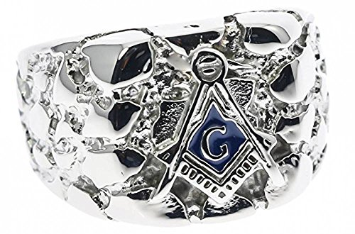 ISADY - Arnold Edelstahl - Herren-Ring - Edelstahl - Franc-maçonnerie - Freimaurer - Tempelritter - T 60 (19.1) - Diamant Ringe Freimaurer