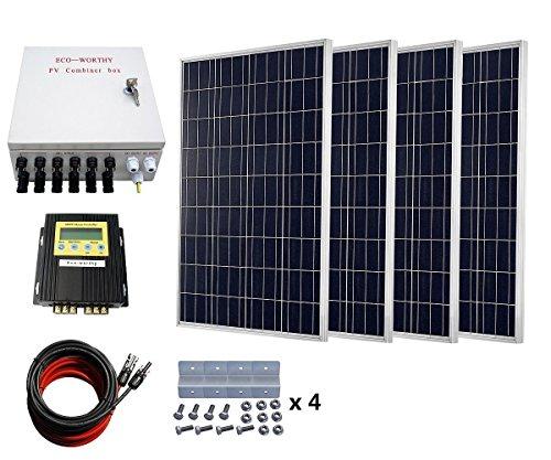 ECO-WORTHY 400 Watt 24V Solar Panels Kits: 4pcs 100W Polycrystalline Solar Panel + 20A MPPT Solar Charge Controller + Solar Combiner Box + Solar Cable -