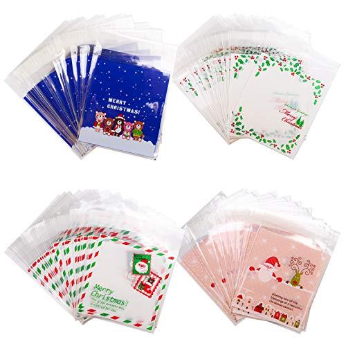 (400 Stück Süßigkeiten Taschen Weihnachten Klare Cellophan Taschen Transparent Kekstüten Gebäcktüten Klebemittel Weihnachtstüten Geschenktüte, Selbstklebend OPP Tütchen Verpackungs Beutel (Stamp))