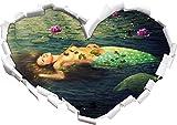 Stil.Zeit Bella Sirena a Forma di Cuore Che giace Acqua nel Formato Sguardo, Parete o Adesivo Porta 3D: 62x43.5cm, autoadesivi della Parete, Decalcomanie della Parete, Decorazione della Parete