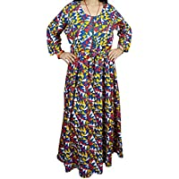 Mogul Interior Boho Chic Womans Maxi Dress Printed Flowy Bohemian Button up Gypsy Dresses