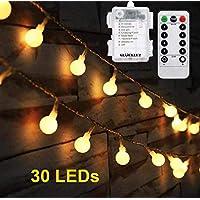 دافئ الأبيض 30 led غلوب أضواء الجنية ، بطارية تعمل العالم سلسلة الإضاءة الخفيفة للمنزل حفل زفاف عيد حديقة الزفاف استخدام داخلي