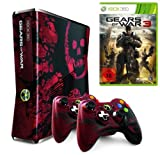 Xbox 360 - Konsole Slim 320 GB Gears of War 3 Edition inkl. 2 Controller + Gears of War 3, schwarz-rot