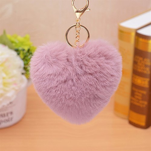 VEA-DE Mode Keychain Geschenk Herz Form Plüsch Ball Schlüsselanhänger Anhänger Plüsch Puppe Schlüsselanhänger Keychain (Dark Pink)