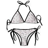 Women's Printing Bikini,British Icons Hearts Umbrella Sexy Bikini 2 Pieces