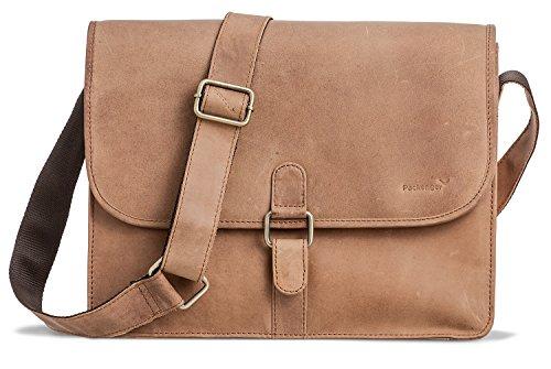 PACKENGER Ledertasche | Damen Umhängetasche Leder braun | Laptop Bag Herren | Aktentasche · Laptoptasche unisex | Notebook bis 13,5 Zoll Hellbraun