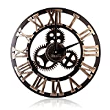 Wall Clock in 3D Wood Europese Vintage Gears met Romeinse Aantal decoratieve Industrial Design Giant Wall Clock