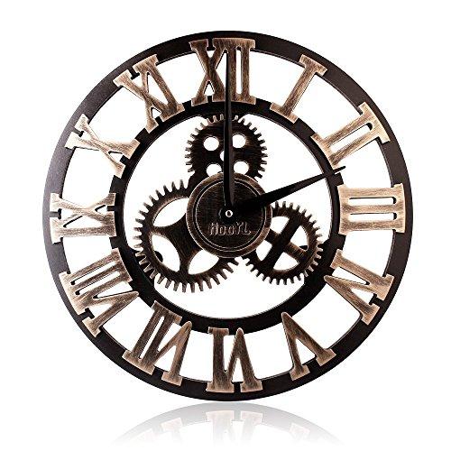 Orologio da parete in legno 3d vintage europeo con ingranaggi numero romani industriale decorativi design gigante orologio da parete