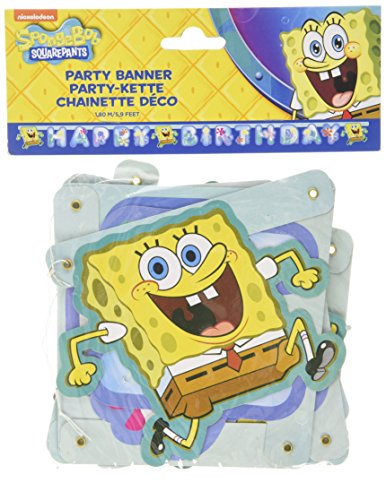 Amscan International Spongebob Happy Birthday Letter Banner (Schwammkopf Spongebob Halloween)